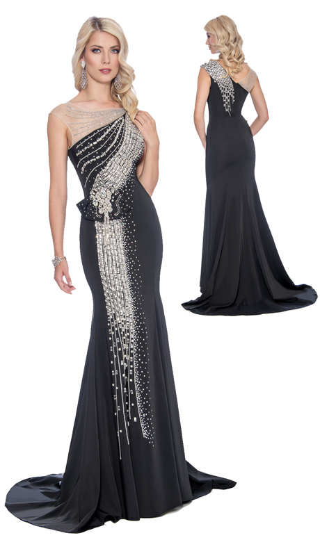 Stella Couture By Serendipity 16190-BLK ( 1pc Embellished Sequin And Beaded Mermaid Gown )