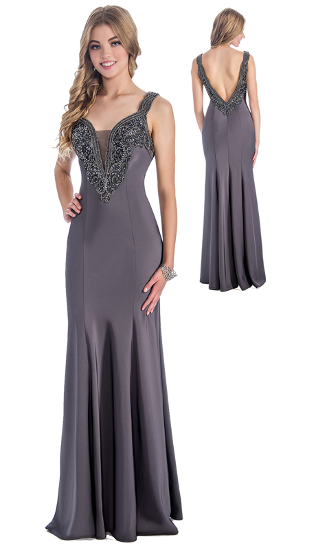 Stella Couture By Serendipity 18168 ( 1Pc Embellished Trumpet Gown With Open Back For Special Occasion )