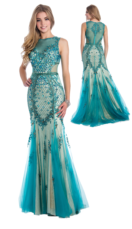 Stella Couture By Serendipity 16174  ( 1pc Neck Illusion Tulle Embellished Sequin And Beaded Mermaid Gown For Prom )