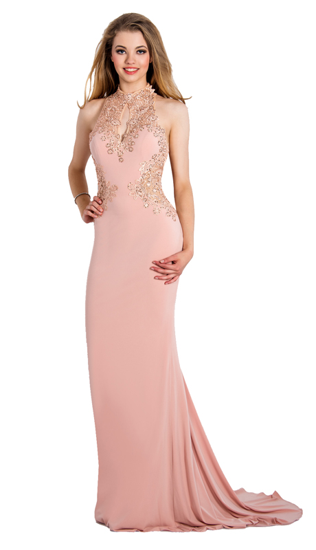 Stella Couture By Serendipity 16084-ROS ( 1pc Jersey Mermaid Gown With Beaded Lace Bodice )