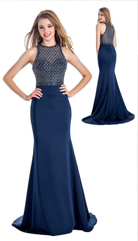 Stella Couture By Serendipity 18043  ( 1pc Top Illusion Tulle Embellished Sequin And Beaded Mermaid Gown For Prom )