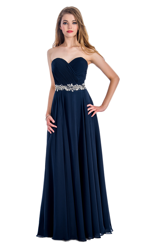 Stella Couture By Serendipity 18042 ( 1pc Strapless Evening Gown With Embellished Waist For Prom )