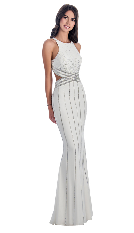 Stella Couture By Serendipity 18039-OW ( 1pc Sequin Gown With Top And Open Embellished back For Special Occasion )