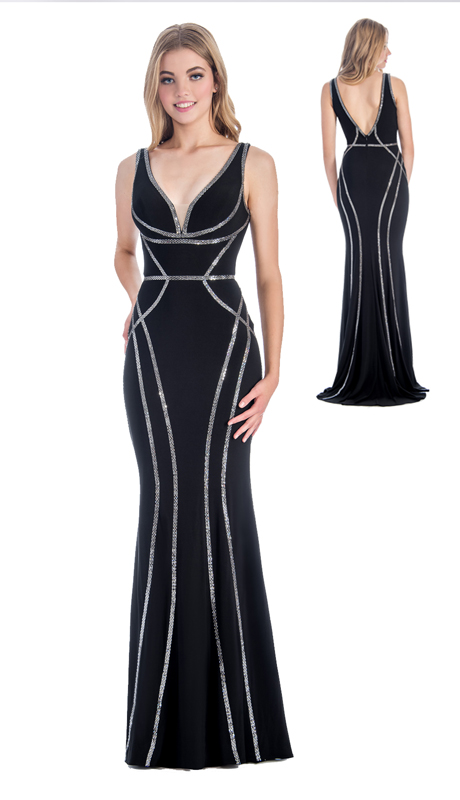 Stella Couture By Serendipity 18038-BLK ( 1pc Embellished Sequin Evening Gown With Open Back For Special Occasion )