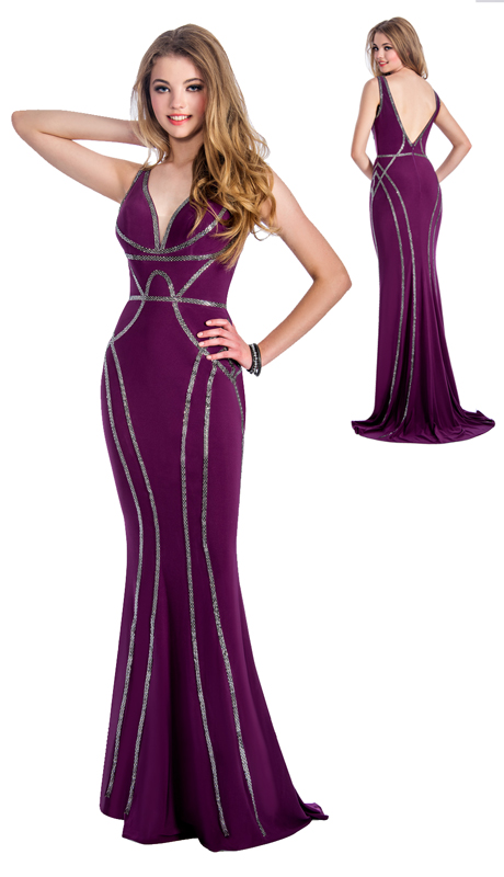 Stella Couture By Serendipity 18038-MA ( 1pc Embellished Sequin Evening Gown With Open Back For Special Occasion )