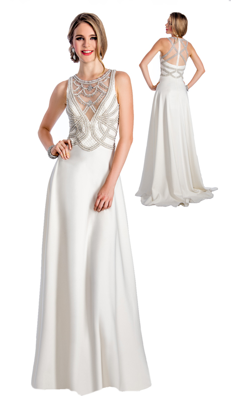 Stella Couture By Serendipity 18036 ( 1pc Embellished Sequin And Beaded Top And Back Evening Gown With Train For Prom )