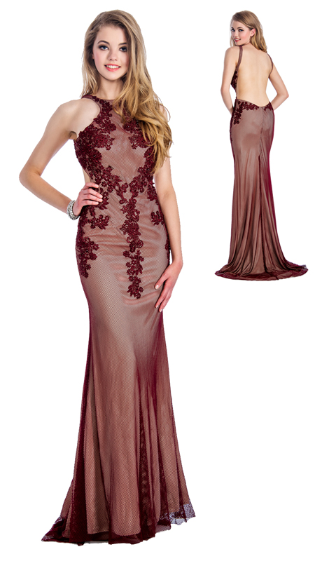 Stella Couture By Serendipity 18032 ( 1pc Embellished Illusion Tulle And Lace Gown With Open Back For Special Occasion )