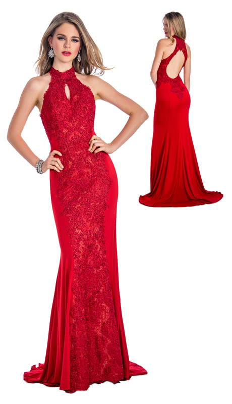 Stella Couture By Serendipity 18023-R ( 1pc Embellished Lace And Sequin Evening Gown With Train For Prom )