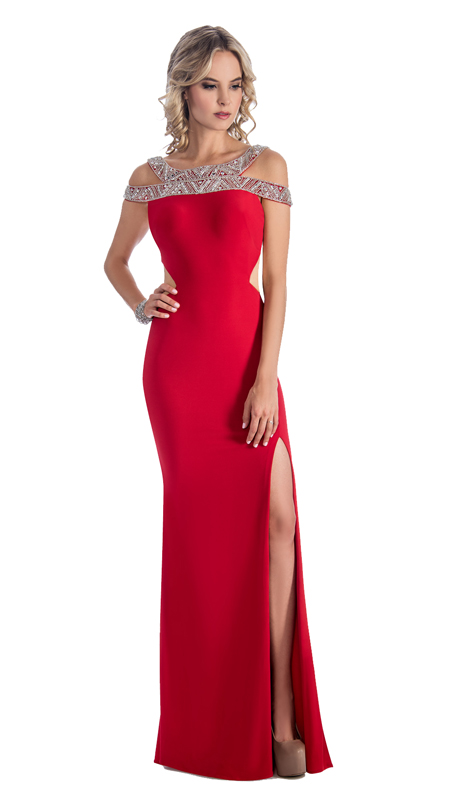 Stella Couture By Serendipity 18021-R ( 1pc Embellished  And Sequin Evening Gown With Train For Prom )