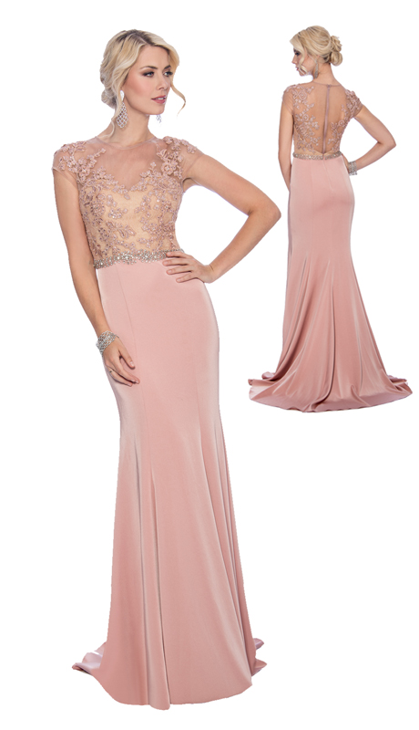 Stella Couture By Serendipity 17028  ( 1 pc Special Occasion Embellished Illusion Mermaid Gown )