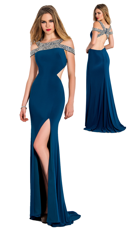 Stella Couture By Serendipity 18021-PEA ( 1pc Embellished And Sequin Evening Gown With Train For Prom )
