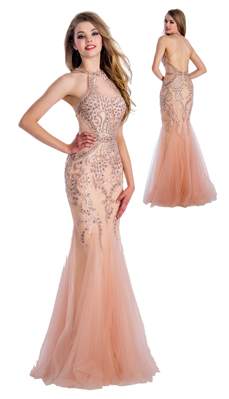 Stella Couture By Serendipity 18020 ( 1pc  Illusion Tulle Evening Mermaid Gown With Sequined Embellishments  For Special Occasion )