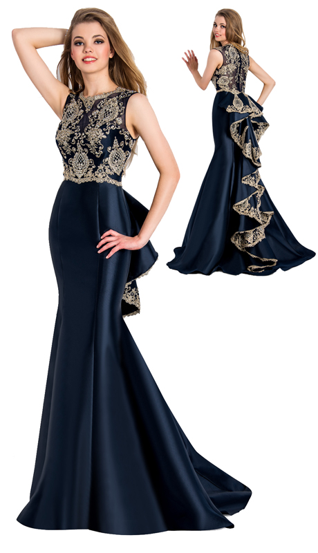 Stella Couture By Serendipity 18084 ( 1pc Evening Satin Ball Gown With Embellished Back Details For Special Occasion )