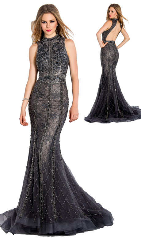 Stella Couture By Serendipity 18019 ( 1pc Illusion Tulle Evening Mermaid Gown With Sequined Embellishments For Special Occasion )