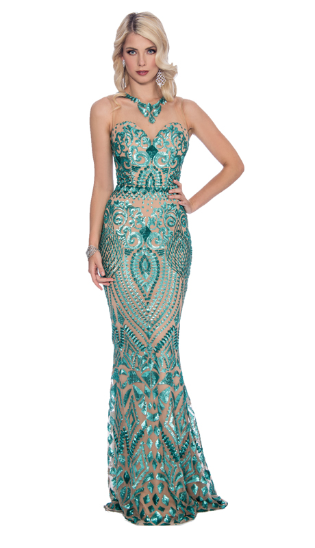 Stella Couture By Serendipity 18011-AN ( 1pc Embroidered Velvet And Illusion Tulle Embellished Evening Gown )