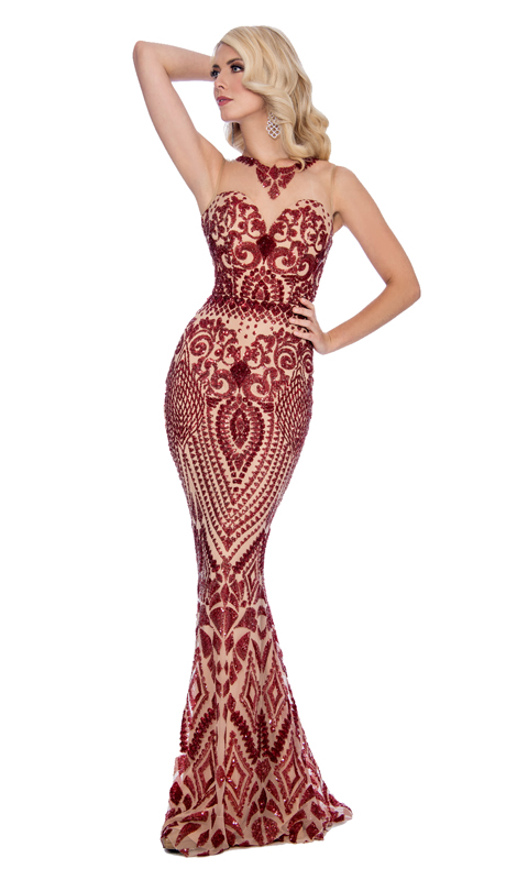 Stella Couture By Serendipity 18011-BN ( 1pc Embroidered Velvet And Illusion Tulle Embellished Evening Gown )