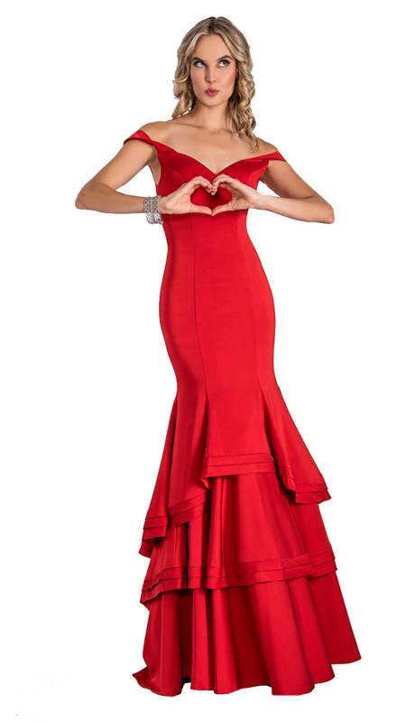 Stella Couture By Serendipity 17203-R ( 1pc Off The Shoulder And Ruffle Gown For Prom )