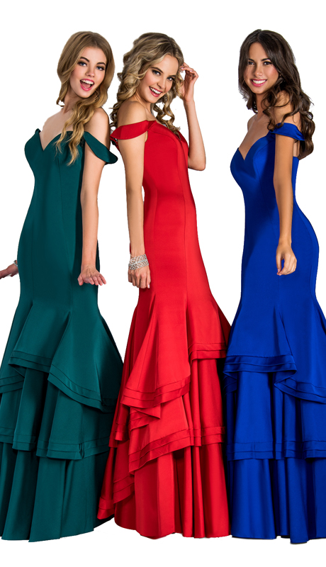 Stella Couture By Serendipity 17203 ( 1pc Off The Shoulder And Ruffle Gown For Prom )