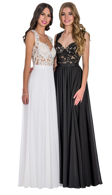 Stella Couture By Serendipity 1079-BW ( 1pc Chiffon With Embellished Lace Top Gown For Prom )