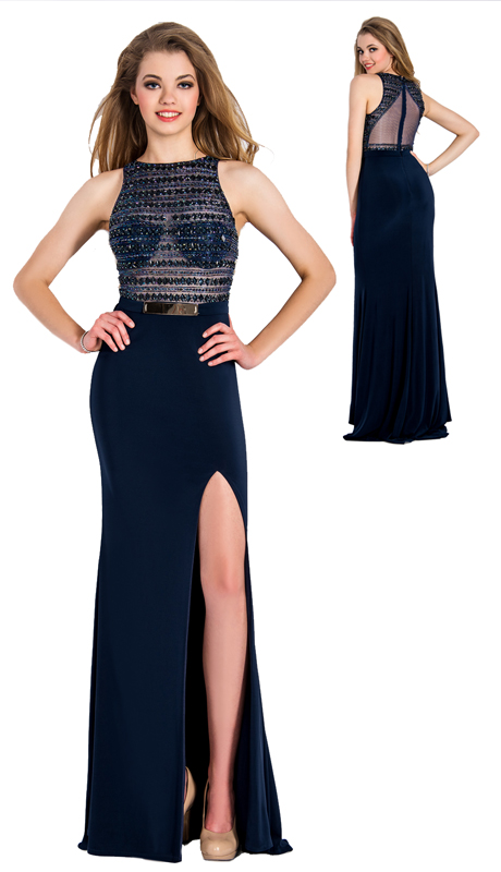 Stella Couture By Serendipity 17183 ( 1pc Embellished Sequin Top And Back With Metallic Belt Evening Gown For Prom )