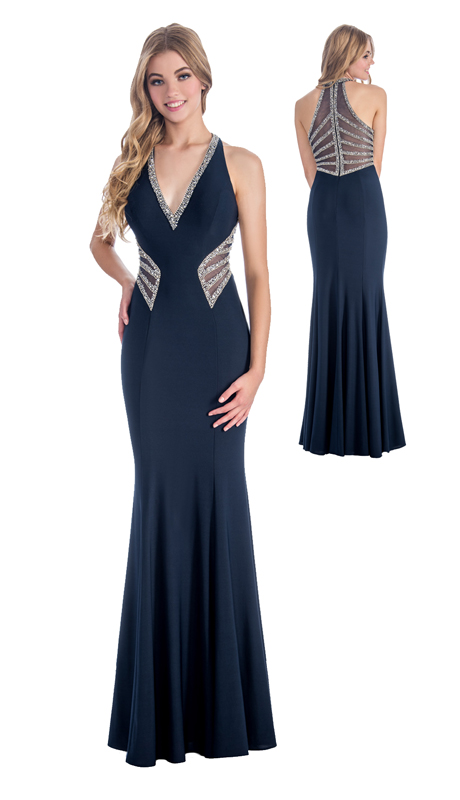 Stella Couture By Serendipity 17011 ( 1pc  V-Neck Jeweled Jersey Evening Gown For Prom )