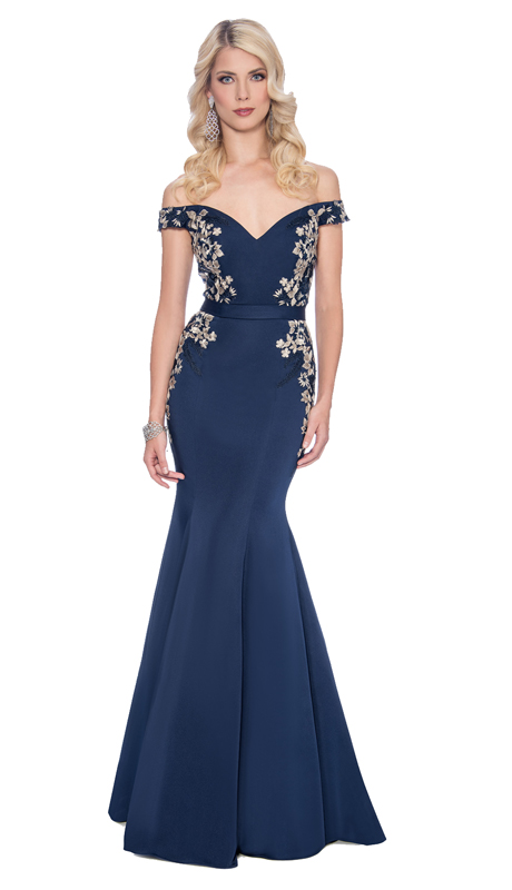 Stella Couture By Serendipity 17164 ( 1pc Floral Embellished Off The shoulder Trumpet Evening Gown For The Mother Of The Bride )
