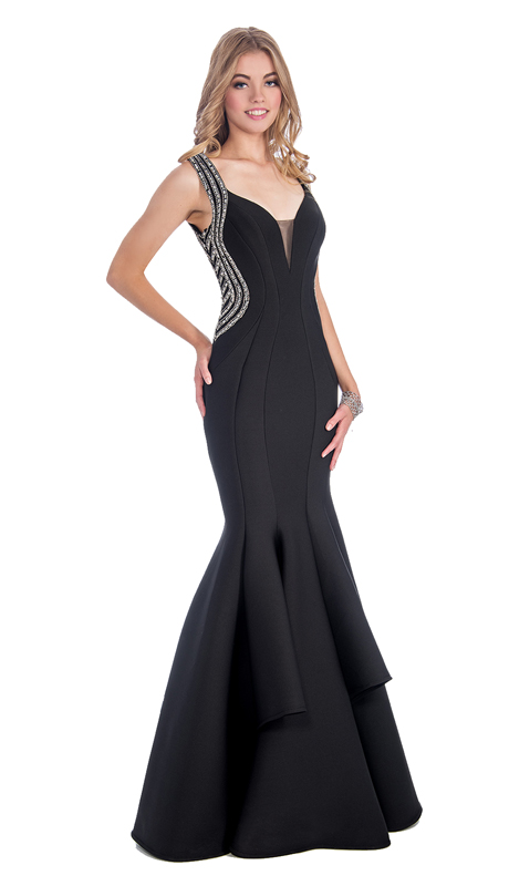 Stella Couture By Serendipity 17083-BLK  ( 1pc Illusion Tulle And Embellished back Tiered Mermaid With Train Gown For Prom )