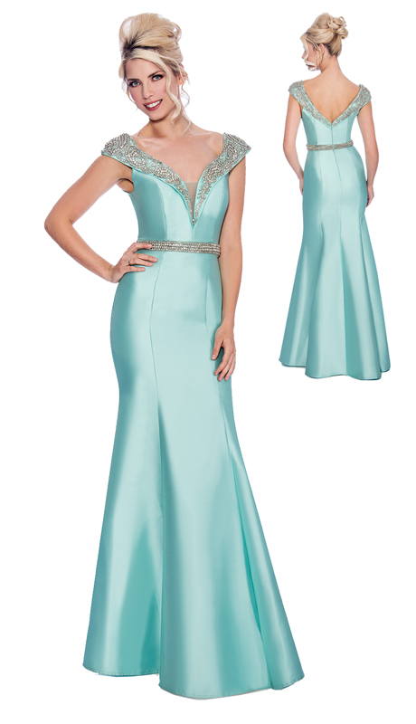 Stella Couture By Serendipity 17079 ( 1pc Off The Shoulder Embellished Belted Satin Gown For Special Occasion )