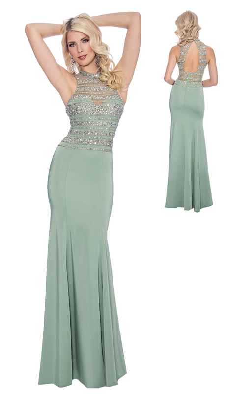 Stella Couture By Serendipity 17076-G ( 1pc Illusion Embellished Tulle With Open Back For Special Occasion )