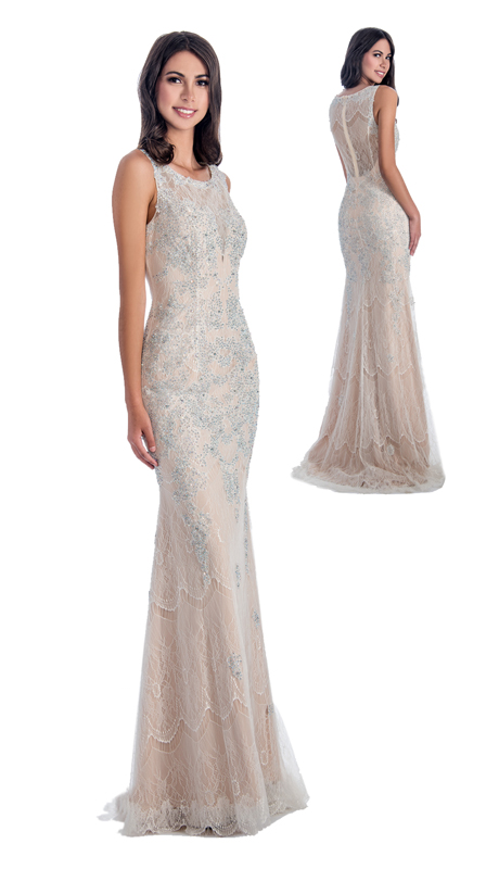Stella Couture By Serendipity 17008  ( 1pc Neck Illusion Tulle With Sequin And Beaded Lace Gown For Prom )