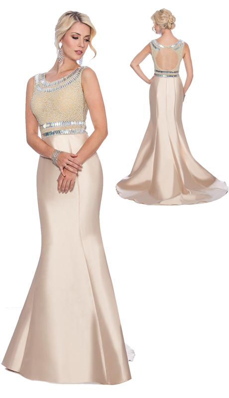 Stella Couture By Serendipity 17065 ( 1pc Jeweled Belted, Bodice Embellished Satin Trumpet Gown For The Mother Of The Bride )