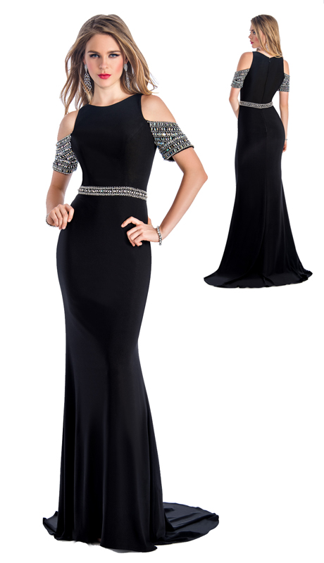 Stella Couture By Serendipity 18055  ( 1pc Embellished Cold-Shoulder Gown For Special Occasion )