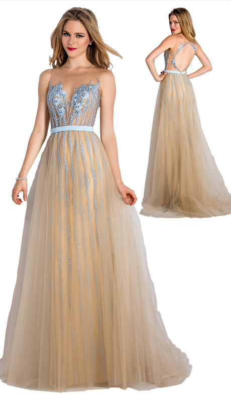 Stella Couture By Serendipity 18062 ( 1pc 3-D Organza With Flowers, Embellished back And Tulle Overlay Gown For Prom )