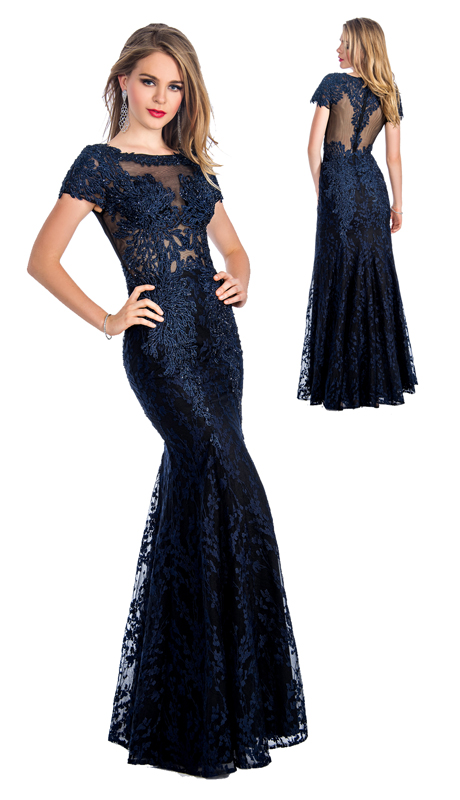 Stella Couture By Serendipity 18066 ( 1pc  Embellished Mermaid Gown With Lace, Sequin, And Illusion Tulle Back With Embroidery For Special Occasion )