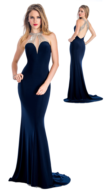 Stella Couture By Serendipity 18074-N ( 1 pc Jeweled Jersey Evening Gown For Prom )