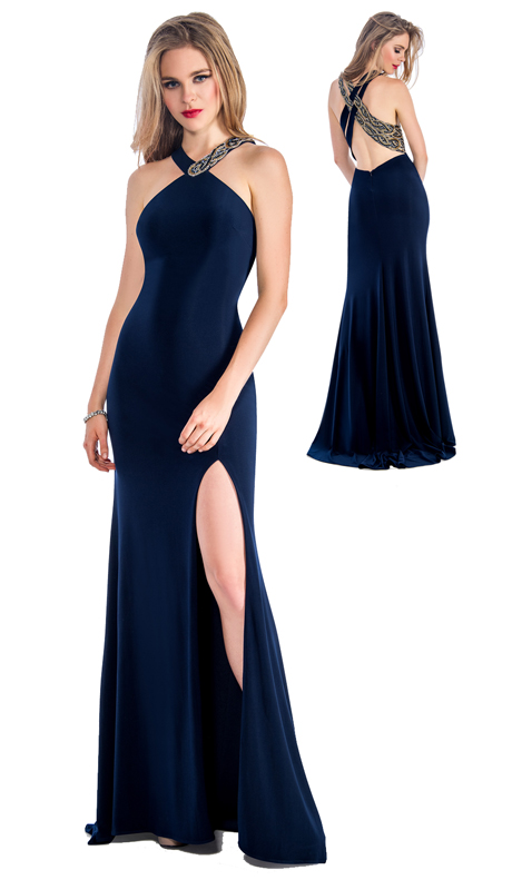 Stella Couture By Serendipity 18075 ( 1pc Neck Jeweled Jersey Evening Gown For Prom )