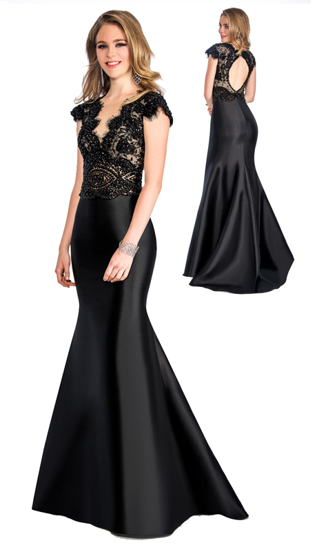 Stella Couture By Serendipity 18077 ( 1pc Satin Trumpet Gown With Beaded Lace For Special Occasion )