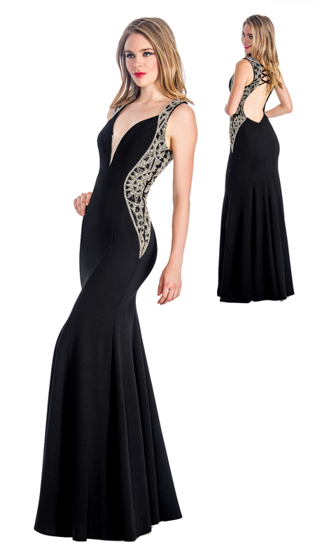Stella Couture By Serendipity 18083 ( 1pc V Neck Gown With Embellished Sides For Prom )