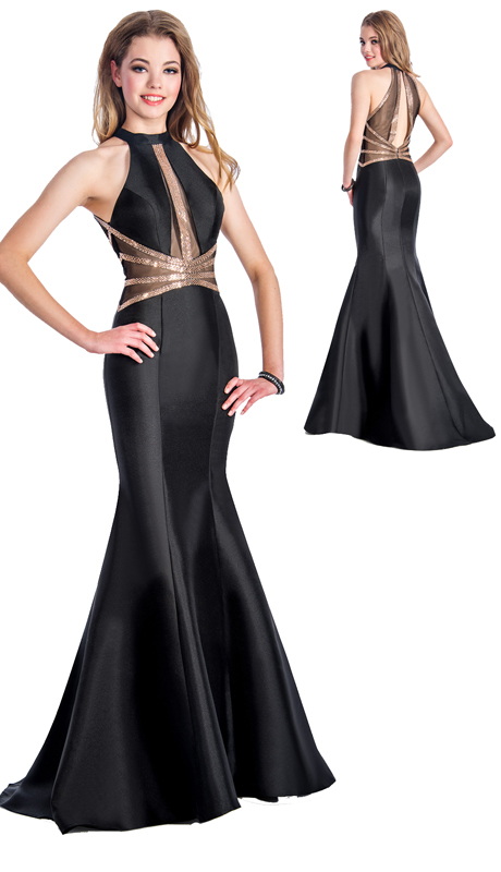 Stella Couture By Serendipity 18091 ( 1pc Dimity Sequin Inset Neck And Back Trumpet Evening Gown For Prom )