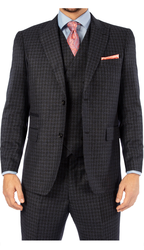 Steven Harvey 119727-CGB ( 3pc Vested Suit, Super 140's )