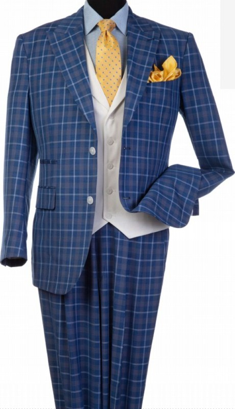 Steve Harvey 120805-SHS ( 3pcs Peak Lapel Suit Coat With Contrasting Solid White Vest, Super 140's )