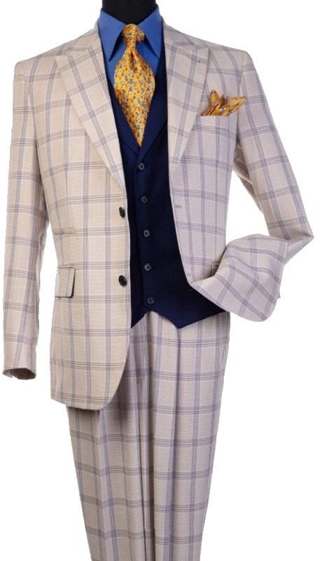 Steve Harvey 120806-SHS ( 3pcs Peak Lapel Suit Coat With Contrasting Solid Navy Vest, Super 140's )