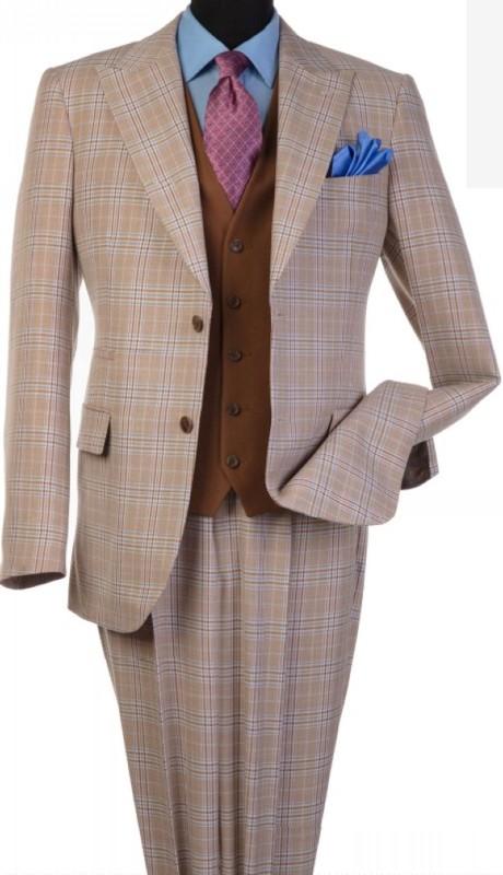 Steve Harvey 120808-SHS ( 3pcs Peak Lapel Suit Coat With Contrasting Solid Brown Vest, Super 140's )