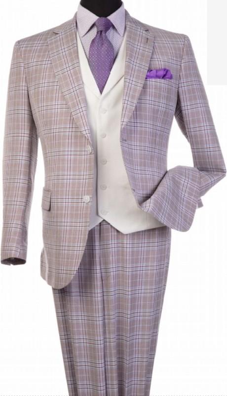 Steve Harvey 120809-SHS ( 3pcs Notch Lapel Suit Coat With Contrasting Solid White Vest, Super 140's )