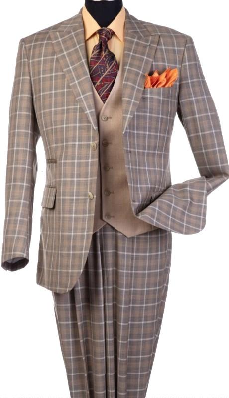 Steve Harvey 120810-SHS ( 3pcs Peak Lapel Suit Coat With Contrasting Vest, Super 140's )