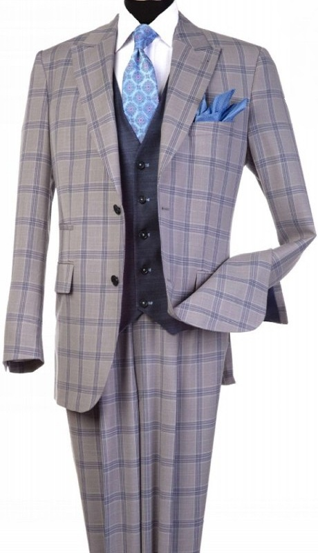 Steve Harvey 120812-SHS ( 3pcs Peak Lapel Suit Coat With Contrasting Vest, Super 140's )