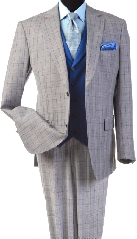 Steve Harvey 120815-SHS ( 3pcs Notch Lapel Suit Coat With Contrasting Solid Blue Vest, Super 140's )