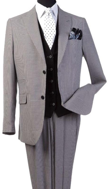 Steve Harvey 120816-SHS ( 3pcs Peak Lapel Suit Coat With Solid Black Vest, Super 140's )