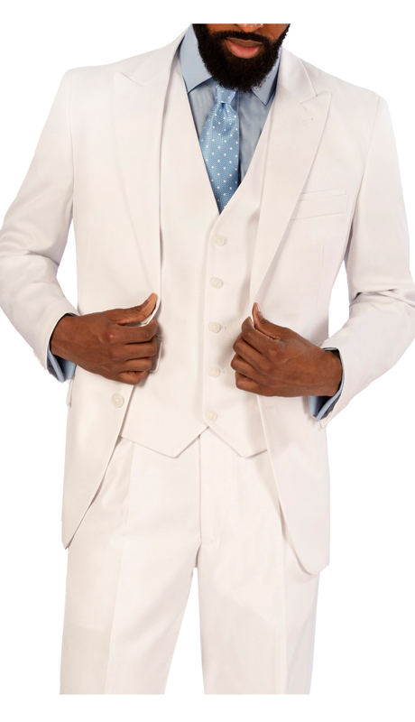 Steve Harvey 119729-WH-CO ( Double Breasted Suit, Super 140's )