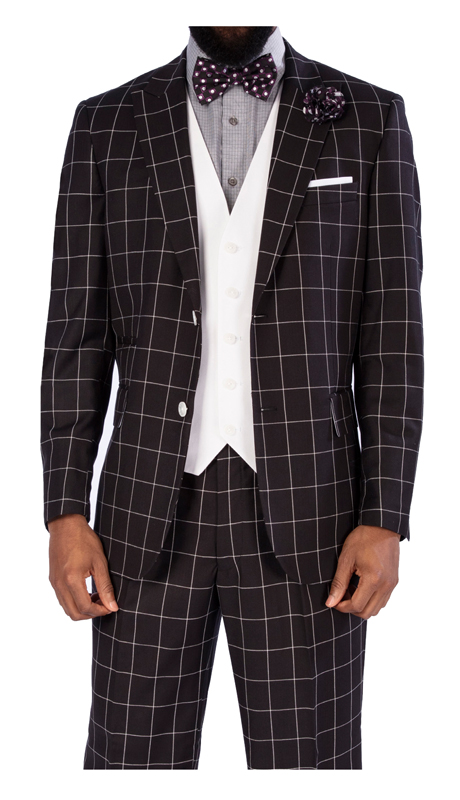 Steve Harvey 119730-BC ( 3pc Suit With White Vest, Super 140's )